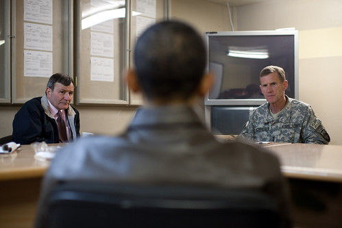 General McChrystal meeting with Ken Eikenberry and Barack Obama