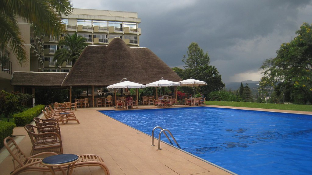 The outdoor bar is a popular happy hour spot for tourists and expats in Kigali.