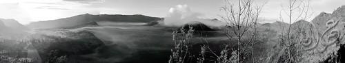 Sunrise from Pos Gardu Pandang, Bromo (Pano B&W)