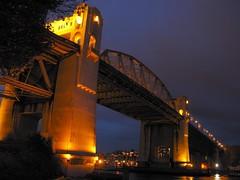Burrard Street Bridge (aylmerqc) Tags: bridge night britishcolumbia steel falsecreek englishbay artdeco vancouverbc burrardbridge truss burrardstreet g9