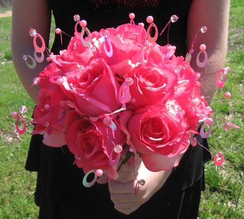 Hot Pink Rose Sequin Bridal Bouquet