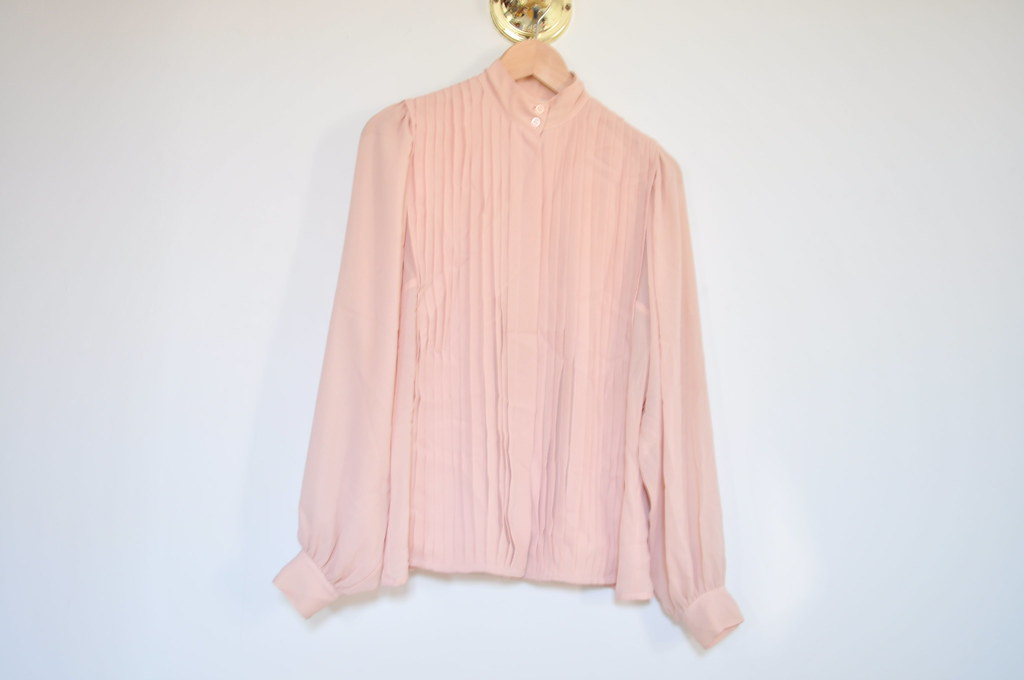 vintage sheer dusty pink top