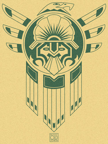 An Inca or Aztec tattoo style design featuring an eagle and an inca mask and
