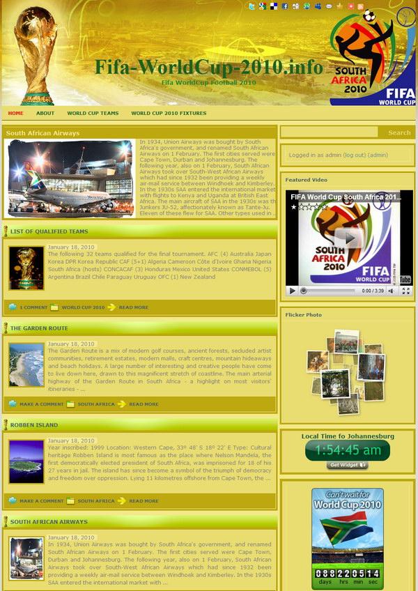 tema wordpress copa do mundo 2010