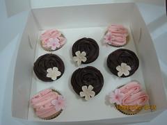Bridal shower cupcakes (CakeCreationsByHuma) Tags: pink flowers wedding rose shower cupcakes blossom chocolate ivory swirl pearl bridal fondant buttercream