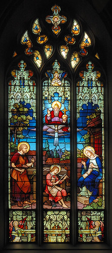 Saint Alphonsus Liguori Roman Catholic Church, in Saint Louis, Missouri, USA - stained glass window of the Holy Family