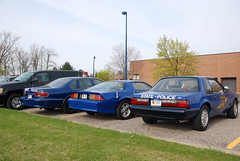 Michigan State Police cars -- 1992 Ford Mustang 5.0, 1991 Chevrolet Camaro and 1995 Chevrolet Caprice (Corvair Owner) Tags: auto old trooper classic cars ford chevrolet mi training vintage state antique michigan lansing police msp historic camaro east vehicles transportation cop mich law 1991 1992 1995 enforcement mustang squad 50 academy 2010 caprice dimondale