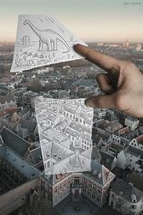 Pencil Vs Camera - 8 (Ben Heine) Tags: new city trees houses wild urban streets holland art church field animal architecture composition contrast forest buildings army high fight war utrecht cityscape hand god maisons altitude horizon fingers perspective apocalypse creative thenetherlands 8 battle creationism explore creation longneck half imagination series conceptual genesis flickrblog opticalillusion tanks asteroid dieu arme domtower prehistory dinosaure miseenabyme number8 innovative theartistery fallingstars meteores benheine atomicexplosion gense drawingvsphotography 2dvs3d traditionalvsdigital pencilvscamera miseenabysme