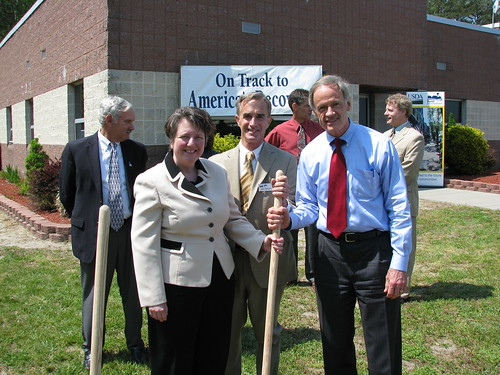 Senator Tom Carper and Deputy Secretary Kathleen Merrigan agree on the Boy Scout's motto ... Leave a place better than you found it. (Center of Photo, State Director Jack Tarburton.