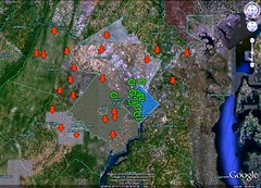 DC area home prices going down on the fringe, up or stable in the core (map by FK Benfield)