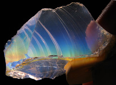 Jelly Opal from Oregon... (Sea Moon) Tags: rainbow transparence opalescence silica hyalite conchoidal clearopal hyalineopal