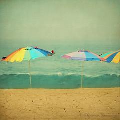 Tutti Frutti (SLEEC Photos/Suzanne) Tags: ocean texture beach sand surf seashore beachumbrella huntingtonbeachcalifornia theworldwelivein photoshopwatercoloreffect lesbrumestextures magicunicornverybest kimklassentextures