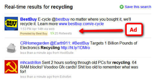 Best Buy Promoted Tweet for recycling