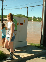 Out and about (riffsyphon1024) Tags: water girl flooding downtown underwater waterfront tn boots flood tennessee may finepix fujifilm shorts riverfront rise redriver submerged cumberland clarksville h20 2010 cumberlandriver riversidedrive floodwater montgomerycounty fujifilmfinepix2800 inundated dihydrogenmonoxide may2010
