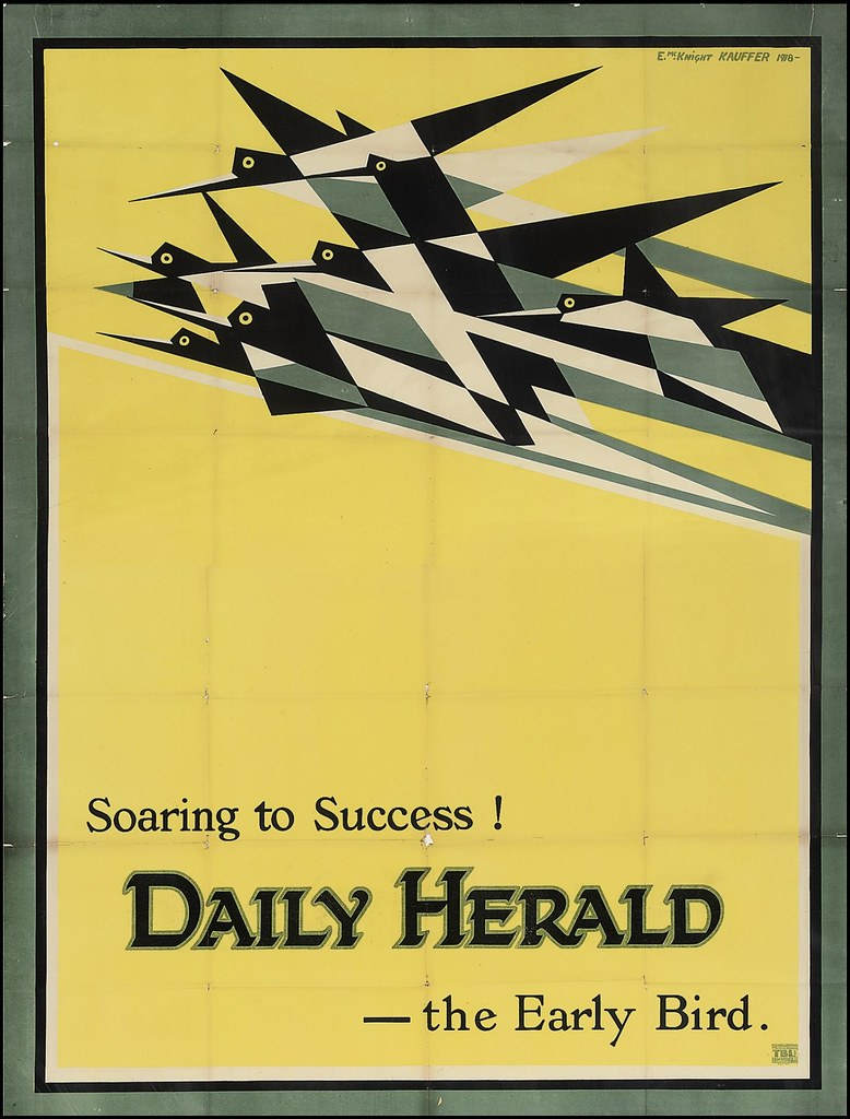 Soaring To Success! The Daily Herald - the Early Bird by E McKnight Kauffer, 1918