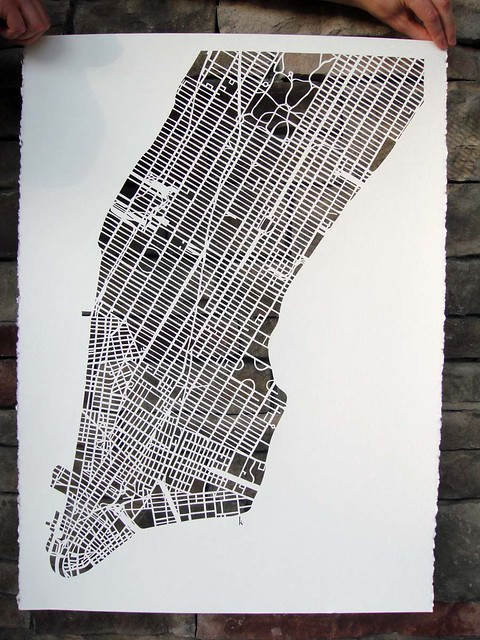 manhattan mapcut on white