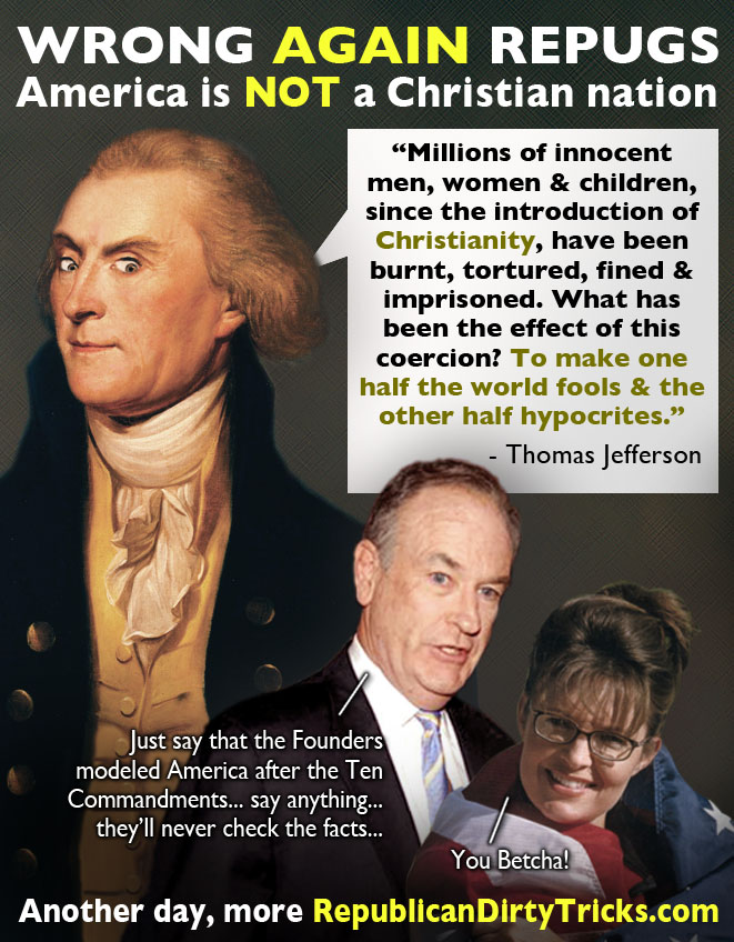 "Contrary to History or Reality, Palin & O'Reilly Float ""Christian Nation"" Myth"