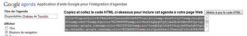 Google agenda code html à copier coller dans son site web