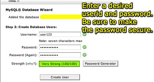 cPanel X - Create User and Password for MySQL