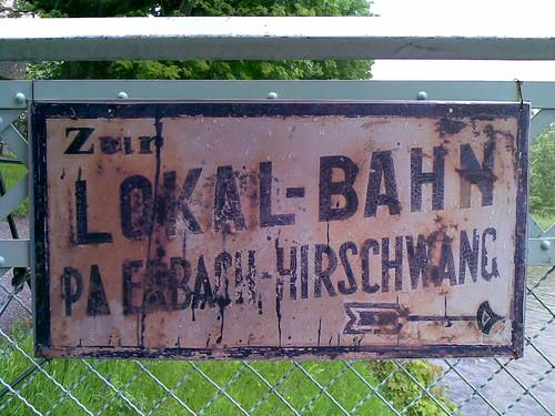 Photo, Schild der Lokalbahn Payerbach - Hirschwang
