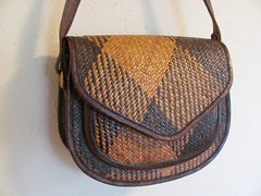 Vintage rattan and leather purse (MySoCalledVintage) Tags: light brown leather vintage dark straw retro caramel purse accessories handbag rattan genuine bagsandpurses