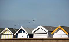 Lets go fly a kite (Helen Illman) Tags: uk sea sky kite beach thames fly seaside sand hut essex beachhuts southend shoeburyness digitalcameraclub