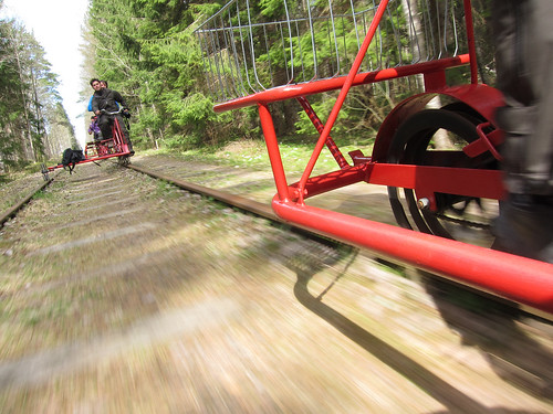 Rail pedal trolley in Värmland, Sweden