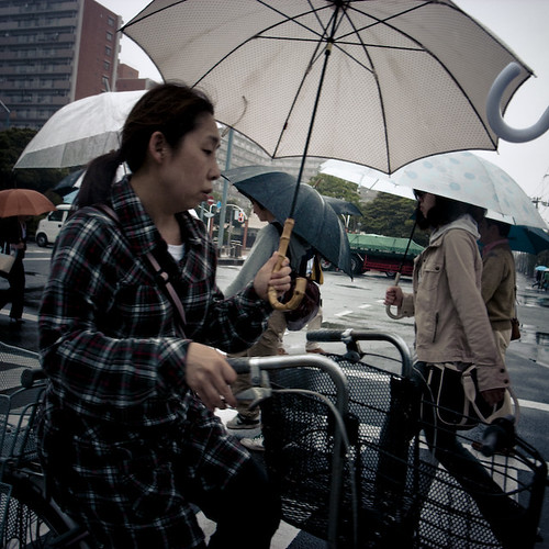 Walking, Cylcling all with Umbrellas