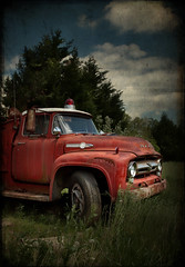 Put Out to Pasture - 2 (crabsandbeer (Kevin Moore)) Tags: red texture rural rust decay farm firetruck vehicle fireengine salvage ruraldecay macktruck