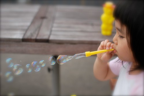 my girl blow soap bubbles.3