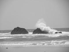 Crashing waves (tbirdshockeyfan) Tags: ocean bw beach oregon pacificocean crashingwave lincolncityoregon