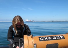 all calm (squeezemonkey) Tags: sea portland harbour oxygen diver holborndivers