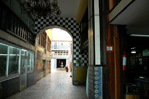 Checkered entrance leading to a fountain, large old Hotel Belmar, South Mazatlan, Sinaloa, Mexico by Wonderlane