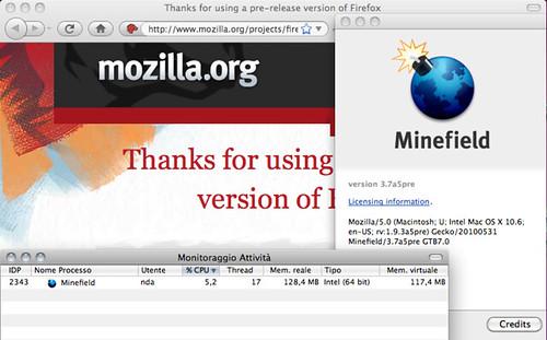 Minefield 3.7a5pre - 64bit Firefox for Mac