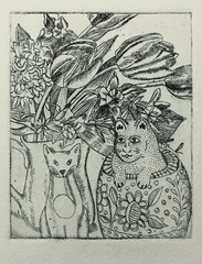 my first etching (Cecca W) Tags: flowers stilllife cats art ink print etching tulips drawing printmaking jug hyacinth narcissus