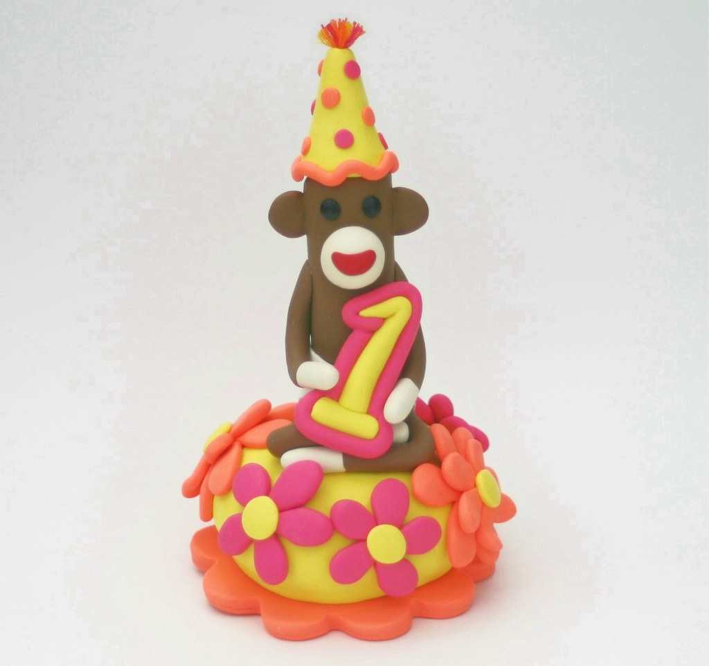 Sock Monkey Birthday Cake Topper Baby Girl First B-day