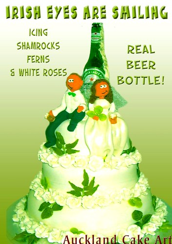 IRISH EYES BEER ROSES WEDDING CAKE