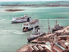 ferries (cyberchrome) Tags: panorama seascape photoshop hampshire portsmouth spinnakertower gunwharfquays panasonicdmctz3