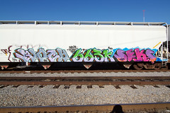 hip-hopper (TRUE 2 DEATH) Tags: street railroad streetart art train graffiti tag graf trains railcar spraypaint boxcar railways hopper railfan freight 663 freighttrain rollingstock seks batle bloch batler grainer benching freighttraingraffiti