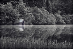 The Boat House (Chee Seong) Tags: uk morning white house mist lake black reflection tree water grass fog canon silver mono scotland boat still weeds calm coloring pro nik loch worldcup trossachs tranquil ard 2010 selective stirlingshire efex startstoday 5dm2 canon70200f28isii