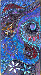 Twilight Dreams (Intrinsic Designs) Tags: coral spirals turquoise mixedmedia pearls swirls tg gemstonemosaic