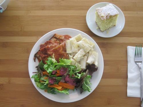 eggplant parmigiana, pasta in cream sauce, salad, cake