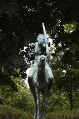 Sculpture of Diana on hind (michael_hamburg69) Tags: sculpture bronze germany nude geotagged deutschland hamburg skulptur doe nackt diana bow artemis hind stadtpark bogen pfeil hirschkuh kcher wrba heckengarten georgwrba geo:lat=53594702 geo:lon=10029166