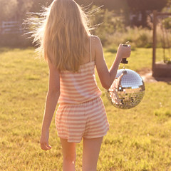 we make our own fun. (emily golitzin) Tags: light girl yard wind megan explore discoball goldenhour romper canoneosdigitalrebelxsi wooooosummer