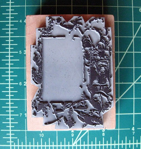 Victorian flower frame stamp, rubber side up