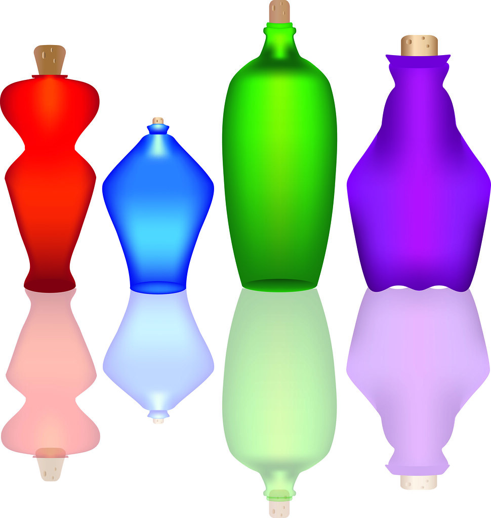 Clip Art Illustration of a Collection of Colorful Glass Bottles