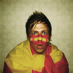 shocked (donchris!) Tags: world africa blue red portrait espaa selfportrait rot eye me cup yellow azul jaune myself rouge ojo football spain rojo blu fifa flag s