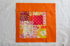 3x6 Mini Bee Block from Amy (Jeni Baker) Tags: june apartment quilt amy sampler sewing 9 mini bee 2nd virtual quilting quarter blocks block patchwork beehive received 2010 3x6 vintagefern