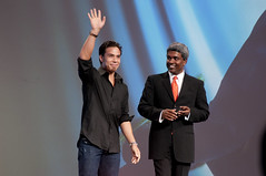 Apolo Anton Ohno and Thomas Kurian, JavaOne Keynote, JavaOne + Develop 2010, Moscone North