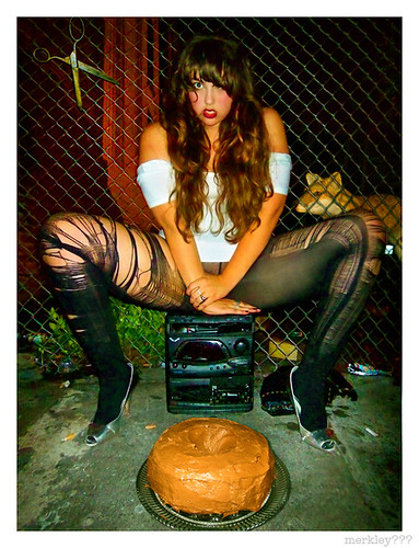 Domonique - Sits M Style on a Speakerless Stereo in Ripped Tights Behind an O Shaped Chocolate Cake In Front of Rusty Scissors Hanging on a Chain Link Fence & a Fox Coming in for a Look